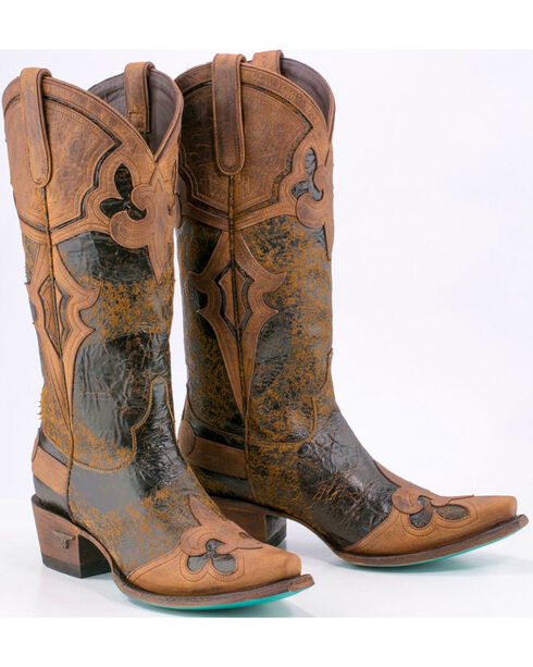 Lane Women's Burnished Cutout Leather Western Boots, Brown, hi-res