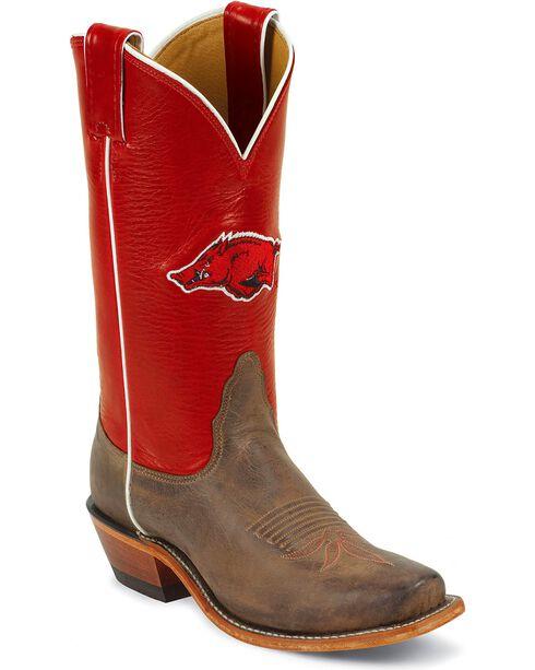 Nocona Women's University of Arkansas College Boots, Tan, hi-res
