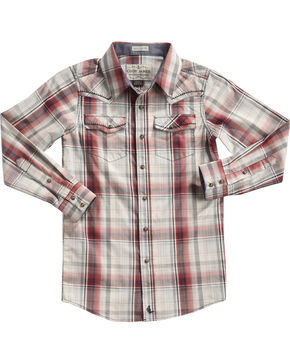 Cody James Boys' Plaid Gold Nugget Long Sleeve Shirt, Tan, hi-res