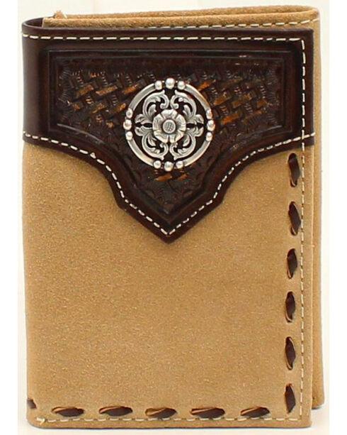 Ariat Tri-Fold Basket Weave Embossed Lacing Wallet, Natural, hi-res