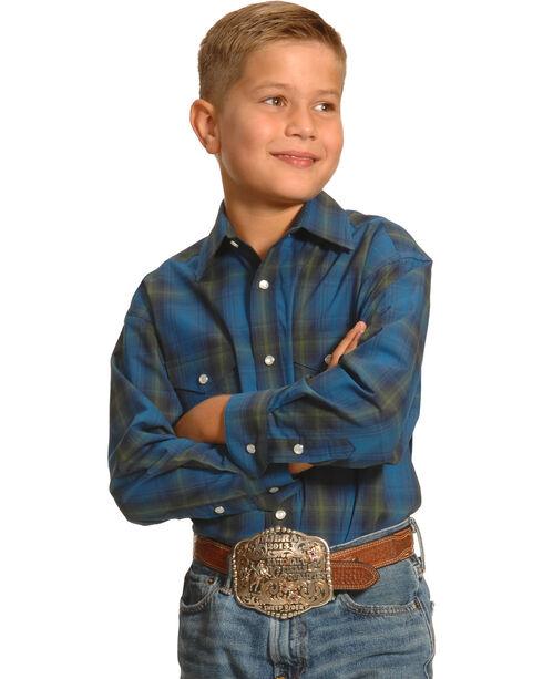 Roughstock by Panhandle Slim Boys' Blue Plaid Kentsdale Western Shirt , Plaid, hi-res