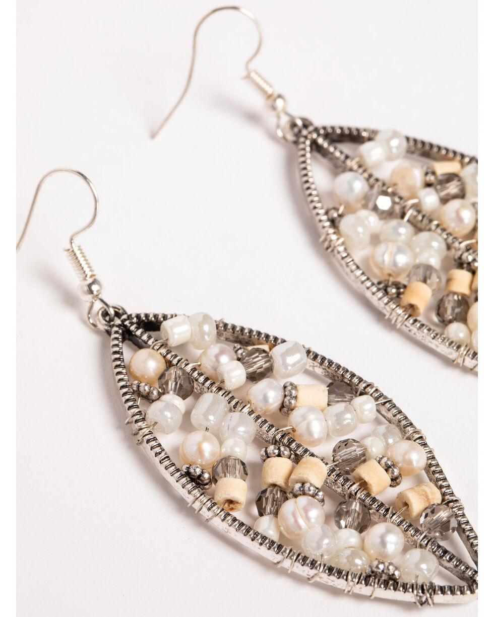 Shyanne Women's Beaded Leaf Earrings, Sand, hi-res