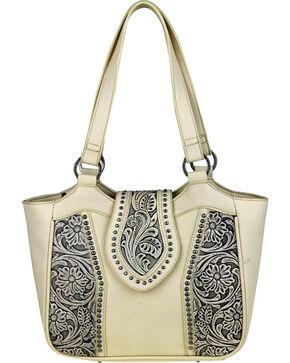 Montana West Trinity Ranch Genuine Floral Tooled Handbag , Beige/khaki, hi-res