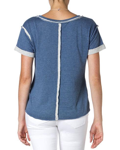 Miss Me Blue Embroidered Short Sleeve Shirt , Blue, hi-res