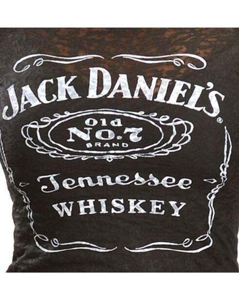 Jack Daniel's Women's Label Burnout Short Sleeve Tee, Black, hi-res