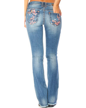 Grace in LA Women's Light Indigo Floral Embroidered Jeans - Boot Cut , Indigo, hi-res