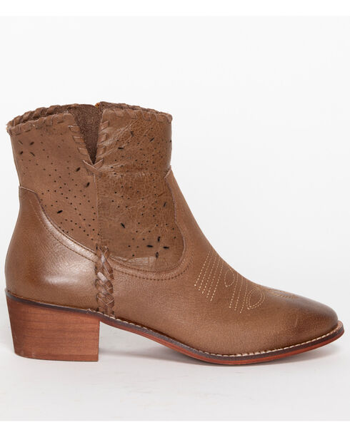 Shyanne Women's Perforated Booties - Round Toe, Brown, hi-res