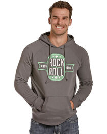 Rock & Roll Cowboy Men's Grey Emblem Hoodie, , hi-res