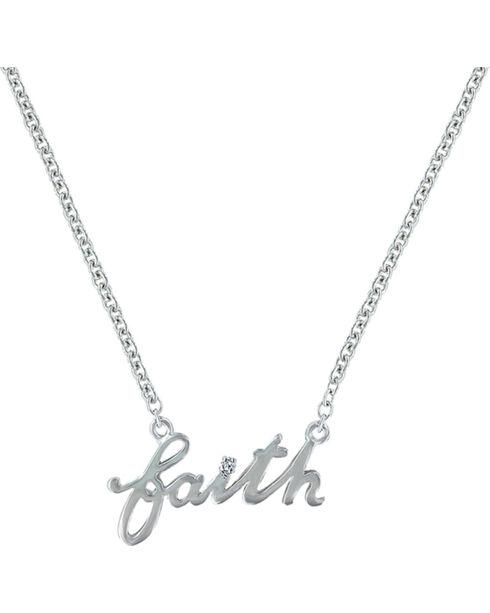 Montana Silversmiths Women's Written Faith Necklace, Silver, hi-res