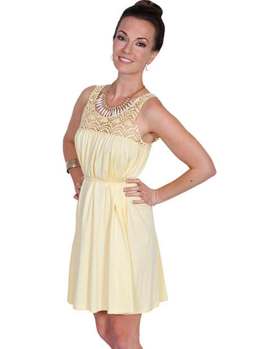 Scully Cantina Collection Scoop Neck Lace Sleeveless Dress, Yellow, hi-res