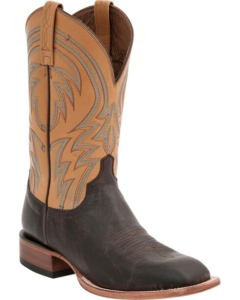 Lucchese Men's Alan Broad Square Toe Western Boots, Dark Brown, hi-res