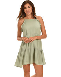 Ces Femme Women's Sage Tiered Ruffle Dress , Green, hi-res