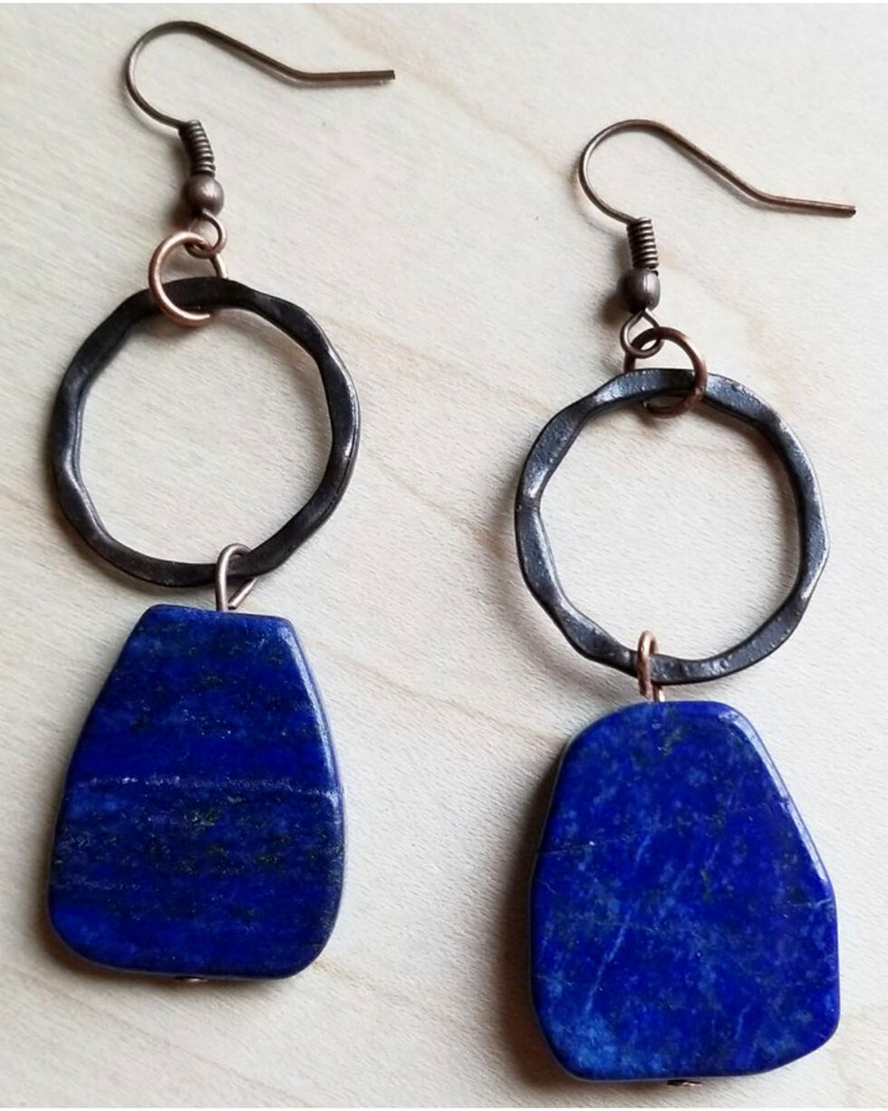 Jewelry Junkie Women's Blue Lapis Slab Earrings , Blue, hi-res