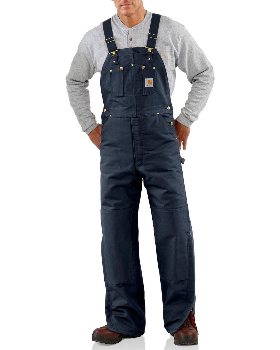 Carhartt Men's Duck Bib Quilt Lined Overall, Navy, hi-res