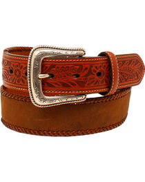 Nocona Men's Lace Edge Tooled Tabs Western Belt , , hi-res