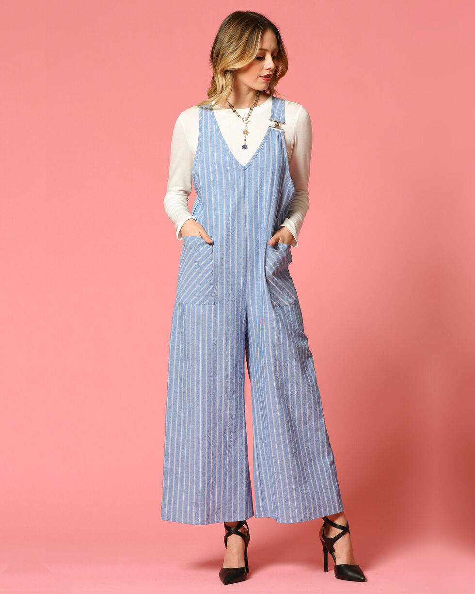 CES FEMME Women's Blue Striped Jumpsuit , Blue, hi-res