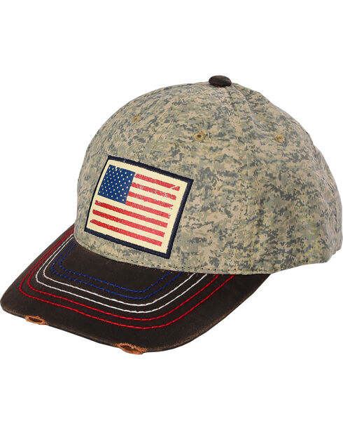 Larry Mahan Men's Old Glory Cap, Brown, hi-res