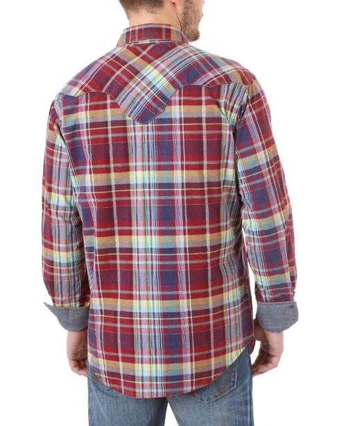 Wrangler Retro Men's Plaid Flannel Shirt, Burgundy, hi-res