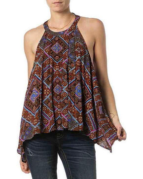 Miss Me Women's Floral Printed Cutout Back Halter Top, Brown, hi-res