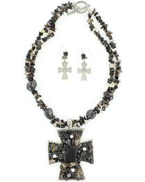 Blazin Roxx Chunky Stone Necklace & Earrings Set, , hi-res