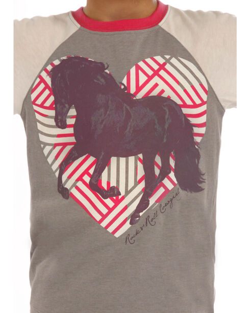 Rock & Roll Cowgirl Girls' Grey Horse and Heart Graphic Baseball Tee, Grey, hi-res