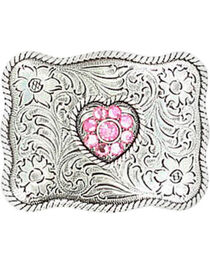 M & F Western Girls' Pink Crystal Heart Belt Buckle, , hi-res