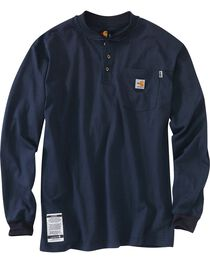 Carhartt Flame Resistant Long Sleeve Work Henley Shirt - Big & Tall, Navy, hi-res