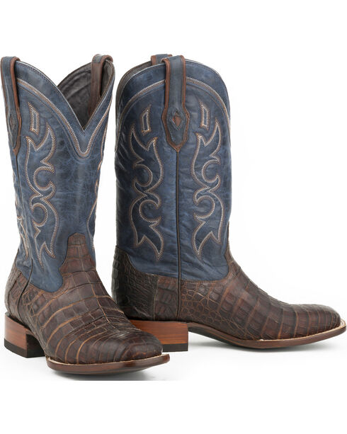 Stetson Men's Honey Caiman Belly Western Boots - Square Toe , Tan, hi-res