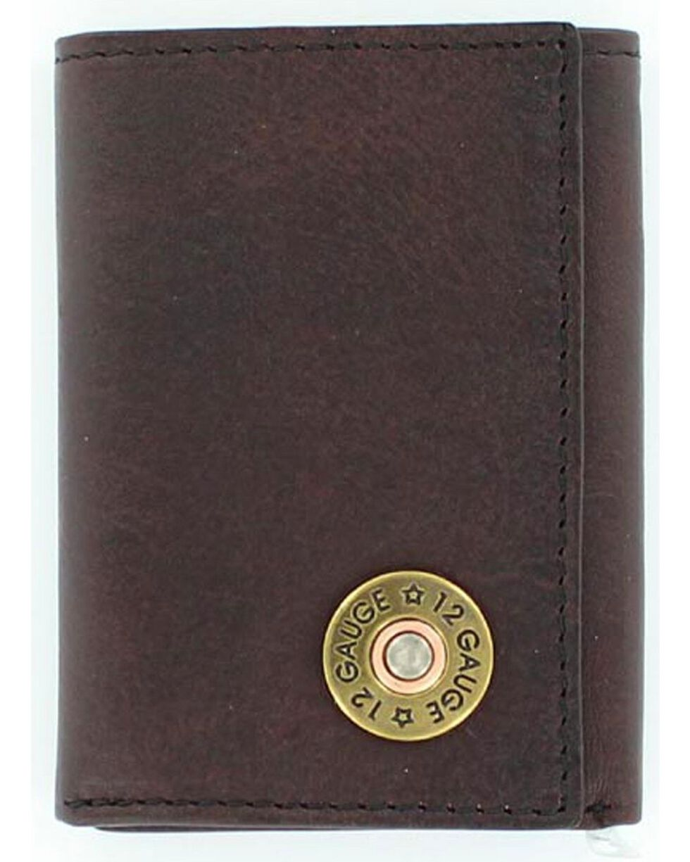 Nocona Men's 12 Gauge Tri-Fold Wallet, Brown, hi-res