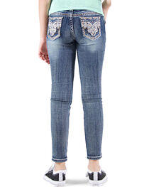 Grace in LA Girls' Embellished Faux Flap Skinny Jeans , , hi-res