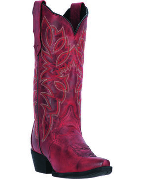 Laredo Women's Leeza Distressed Snip Toe Western Boots, Red, hi-res