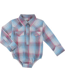 Wrangler Infant Girls Turquoise Plaid Onesie , , hi-res