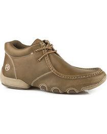 Roper Men's Tan Vintage Leather 2 Eyelet Chukka Driving Moc Shoes , , hi-res