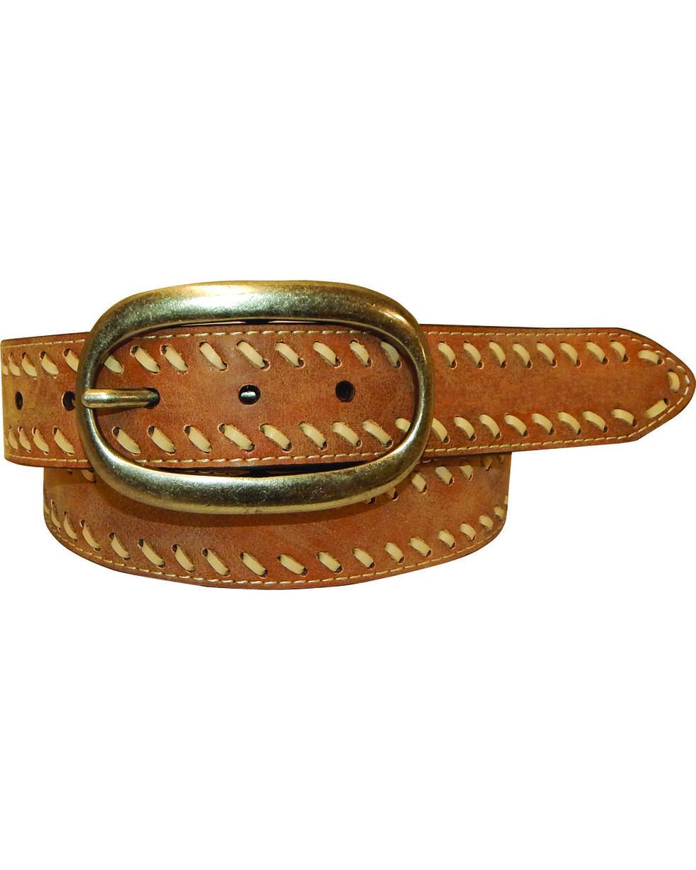Cowgirls Rock Women's Light Brown Vintage Leather Belt , Lt Brown, hi-res