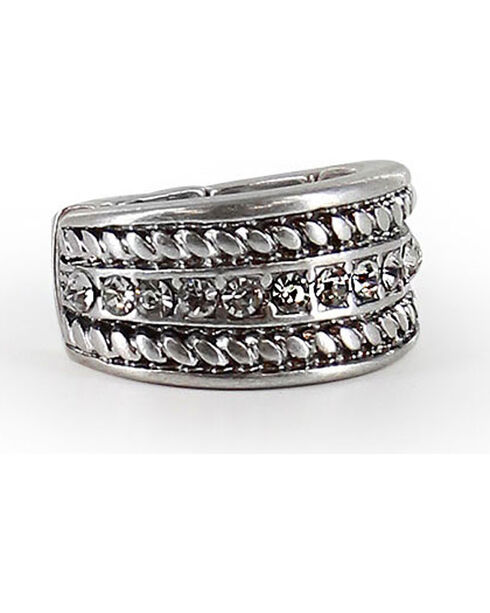 Shyanne® Women's Twisted Rope Rhinestone Ring, Silver, hi-res