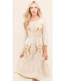 Polagram Women's 3/4 Sleeve Embroidered Midi Dress , , hi-res