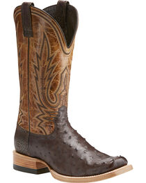 Ariat Men's Relentless All Around Full Quill Ostrich Boots - Square Toe , , hi-res