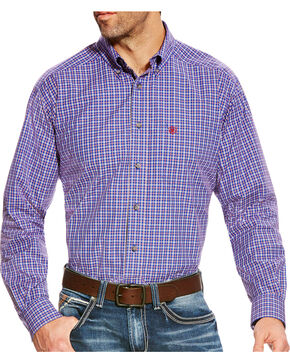Ariat Men's Brewton Pro Series Classic Fit Long Sleeve Shirt - Big & Tall, Blue, hi-res