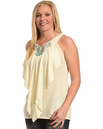 Wrangler Women's Sleeveless Stone Embellished Top, , hi-res