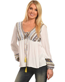 Polagram Women's Embroidered Long Sleeve Top , , hi-res