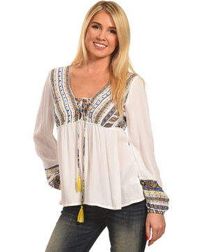 Polagram Women's Embroidered Long Sleeve Top , Natural, hi-res