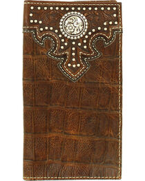 Ariat Men's Croco Concho Nailhead Accents Leather Wallet , , hi-res
