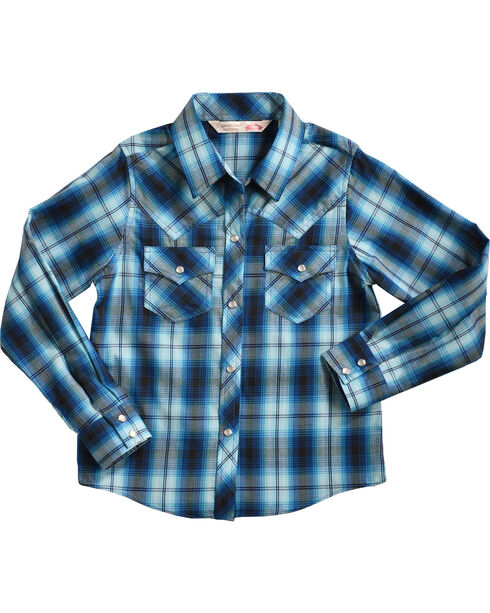 Cumberland Outfitters Girls' Assorted Long Sleeve Woven Plaid Shirt, Multi, hi-res