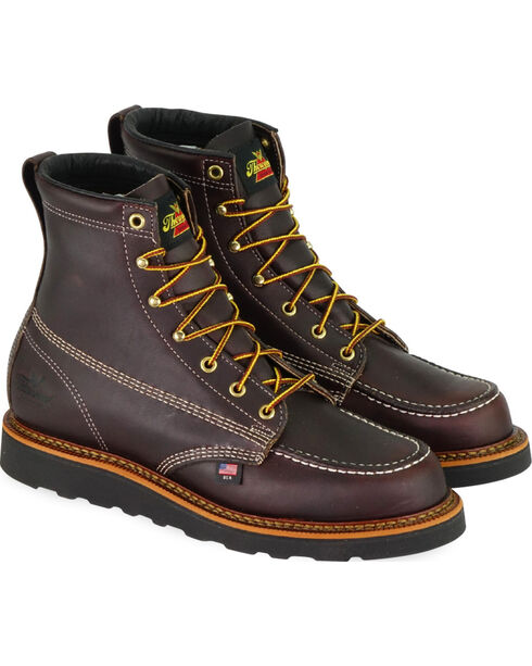 "Thorogood Men's 6"" American Heritage MAXwear Wedge Sole Work Boots - Soft Toe, Dark Brown, hi-res"