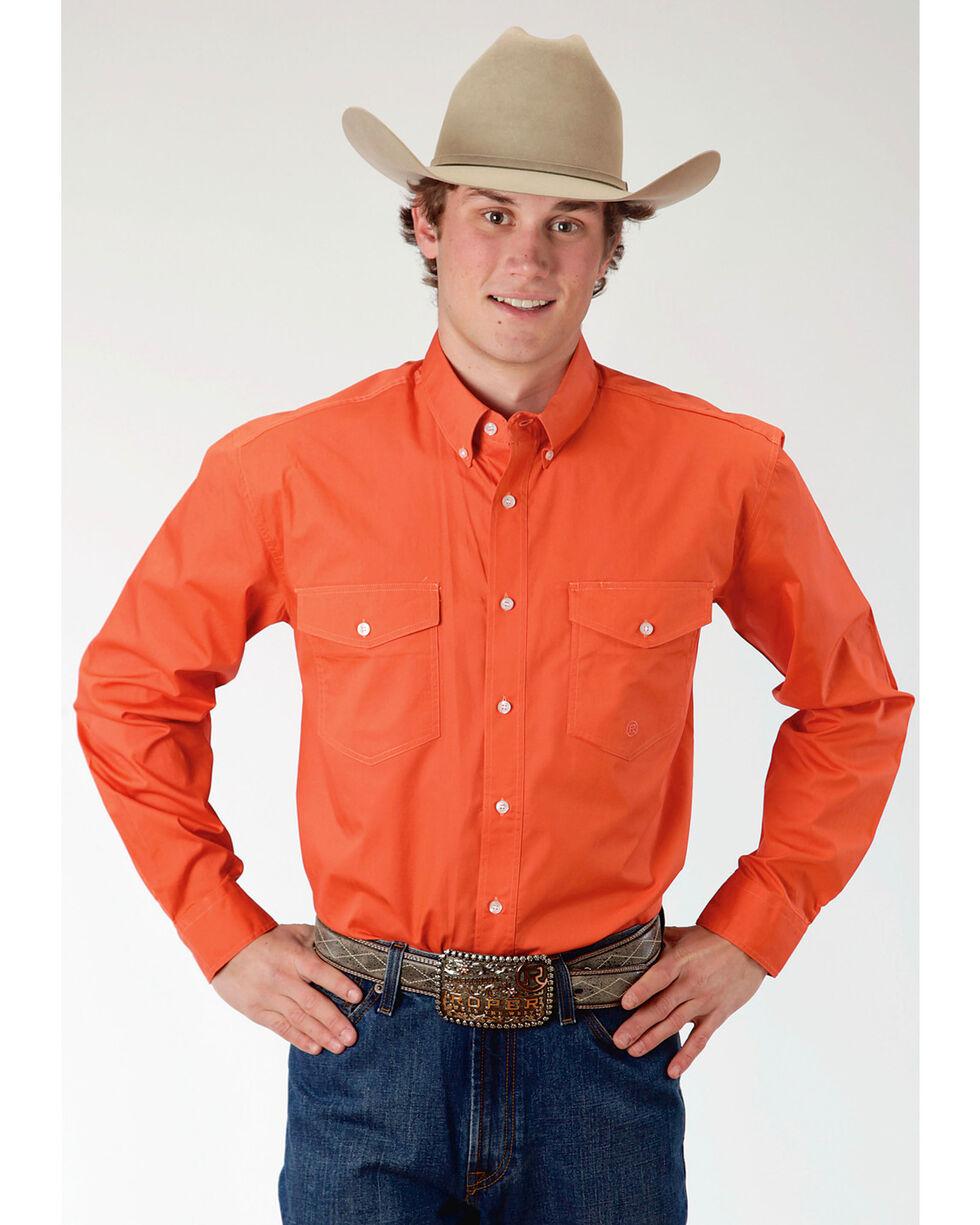 Roper Men's Orange Long Sleeve Button Down Shirt, Orange, hi-res