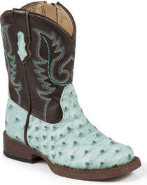 Roper Toddler Ostrich Print Cowboy Boots - Square Toe, Turquoise, hi-res