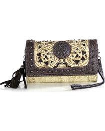 Savana Women's Tooled Bone Studded Wristlet Wallet, , hi-res