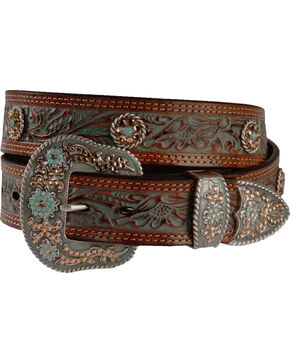 Nocona Women's Tooled Concho Belt, Tan, hi-res
