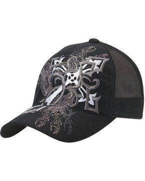 Blazin Roxx Diagonal Cross Embroidered Flex Fit Cap, Black, hi-res
