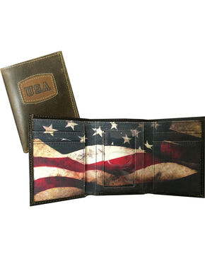Danbury Men's Brown USA Threefold Leather Wallet, Brown, hi-res